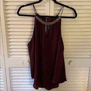Maroon sparkly neck tank top